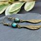 Brass feather boho earring with Czech Picasso fire polished bead