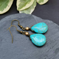 Turquoise drop brass antiqued earrings