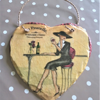 Decorated French Bistro Hanging Slate Heart Tile