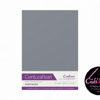 Crafter's Companion Centura - Pearl Single Colour - 10 Sheet Pack - Anthracite