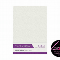 Crafter's Companion Centura Pearl 10 Sheet Pack - Snow White - Hint Of Silver