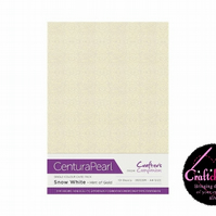 Crafter's Companion Centura Pearl 10 Sheet Pack - Snow White - Hint Of Gold
