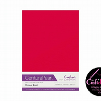 Crafter's Companion Centura Pearl 10 Sheet Pack - Xmas Red
