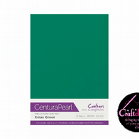 Crafter's Companion Centura Pearl 10 Sheet Pack - Xmas Green