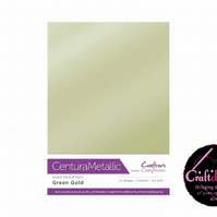 Crafter's Companion - Centura Pearl Metallic - Green Gold - A4 310gsm 10 Sheets