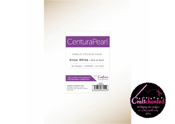 Crafter's Companion - Centura Pearl - Snow White - Hint Of Gold - Single Sided -