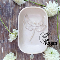 Handmade, ceramic soap dish - vegan certified. The Iffley Soap Dish - Dragonfly