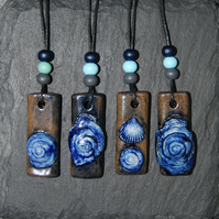 Blue Spiral Shell Ceramic Pendant