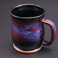Mug with a Plumb Mottled Band and Purple-lilac Brushstrokes on a Black Glaze