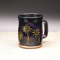 Mug with Gold Painted Daisies Growing around the Base