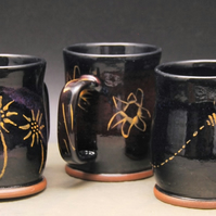 Mug with Gold Painted Flower decoration