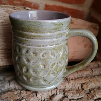 Mug with Green and Lilac Flecks with Carved Surface Pattern