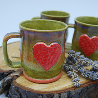 Heart Mug in Colours of Heathers with Red and Pink detail