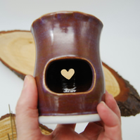 Oil Burner with Heart Cut Out and Fluted Top in Purple