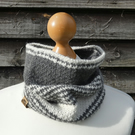 Cozy hand crochet cowl, snood in grey and white alpaca