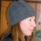 Hand crochet shetland wool beanie hat -  steel grey