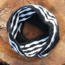 Hand crochet wave pattern cowl, scarf - 100% alpaca - black and white