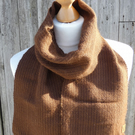 Handwoven scarf, wrap - 100% alpaca - subtle brown stripe