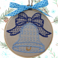Blue Christmas Bell, 10cm Embroidered Hoop Fabric Wall Hanging