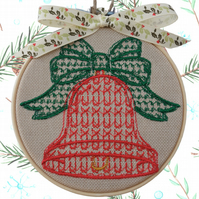 Red Christmas Bell, 10cm Embroidered Hoop Fabric Wall Hanging