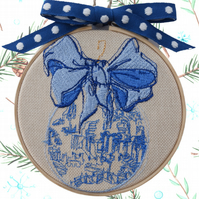 Blue Christmas Bauble, 10cm Embroidered Hoop Fabric Wall Hanging