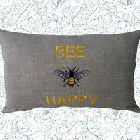 Bee Happy, Embroidered Bee design Feature Cushion