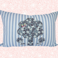 Tree and Flowers, Appliqué and Embroidered Feature Cushion, Throw Pillow