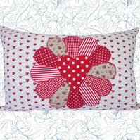 Red Fan, Appliqué and Embroidered Feature Cushion, Throw Pillow