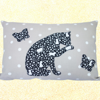 Cat & Butterfly, Appliqué and Embroidered Feature Cushion, Throw Pillow
