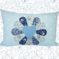 Blue Fan, Appliqué and Embroidered Feature Cushion, Throw Pillow
