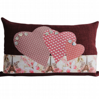 Paris & Hearts Cushion, Appliqué Cushion, Feature Cushion, Throw Pillow