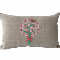 Heart Tree Cushion, Embroidered Cushion, Feature Cushion, Throw Pillow