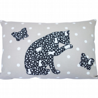 Cat & Butterfly Cushion, Appliqué Cushion, Feature Cushion, Throw Pillow