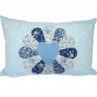 Blue Fan Cushion, Appliqué Cushion, Feature Cushion, Throw Pillow