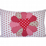 Red Fan Cushion, Appliqué Cushion, Feature Cushion, Throw Pillow