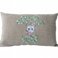 Crazy Cat Lady Cushion, Embroidered Cushion, Feature Cushion, Throw Pillow