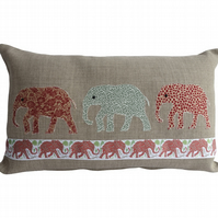 Green and Red Elephant Cushion, Appliqué Cushion, Feature Cushion, Throw Pillow