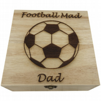 Football Mad Dad, Decorated Wooden Box, Jewellery Keys Wallet Storage Box