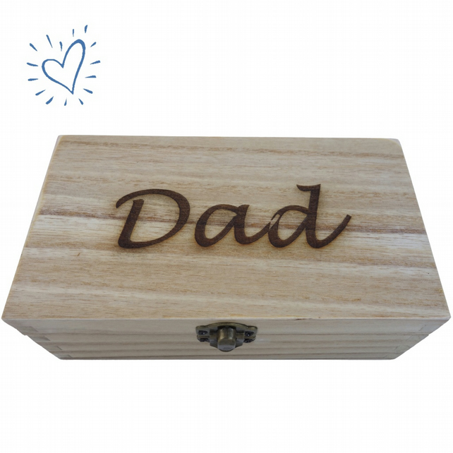Dad, Decorated Wooden Box, Jewellery Keys Wallet Storage Box