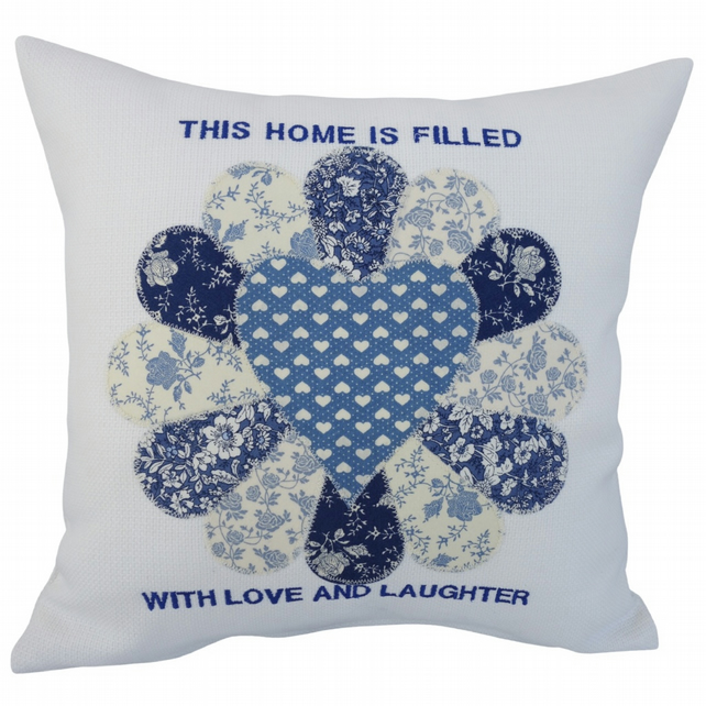 Blue Fan, Embroidered Appliqué Cushion, Feature Cushion, Throw Pillow