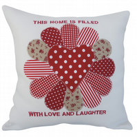 Red Fan, Embroidered Appliqué Cushion, Feature Cushion, Throw Pillow