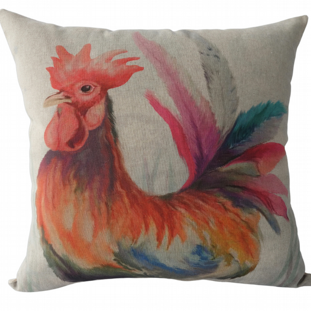 Cockerel, printed panel Decorative Feature Cushion, Throw Pillow