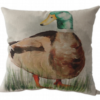 Duck, printed panel Feature Cushion, Throw Pillow