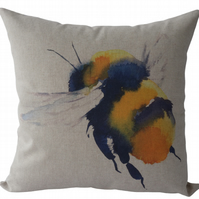 Bee in flight, printed panel Feature Cushion, Throw Pillow