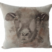 Sheep, printed panel Feature Cushion, Throw Pillow