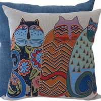3 Huddled Cats, tapestry panel Feature Cushion, Throw Pillow