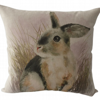 Rabbit, printed panel Feature Cushion, Throw Pillow