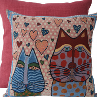 Cats & Hearts, tapestry panel Feature Cushion, Throw Pillow