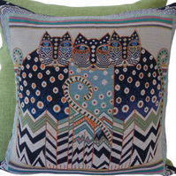 3 Blue Cats Cushion, Feature Cushion, Throw Pillow, Tapestry Cushion