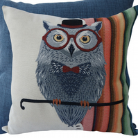 Owl with Hat, tapestry panel Feature Cushion, Throw Pillow